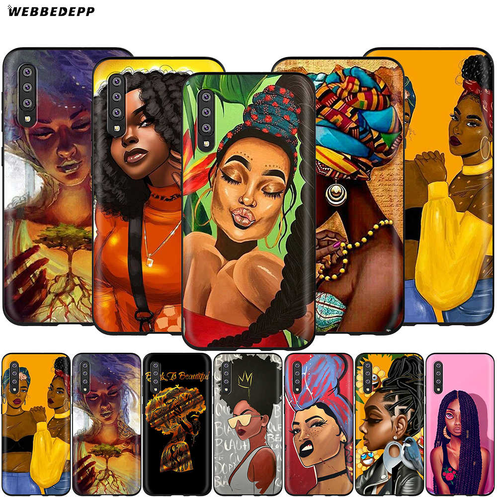 Webbedepp Menina Africano Art Case for Samsung Galaxy S7 S8 S9 S10 Plus Nota Borda 10 8 9 A10 A20 A30 A40 A50 A60 A70