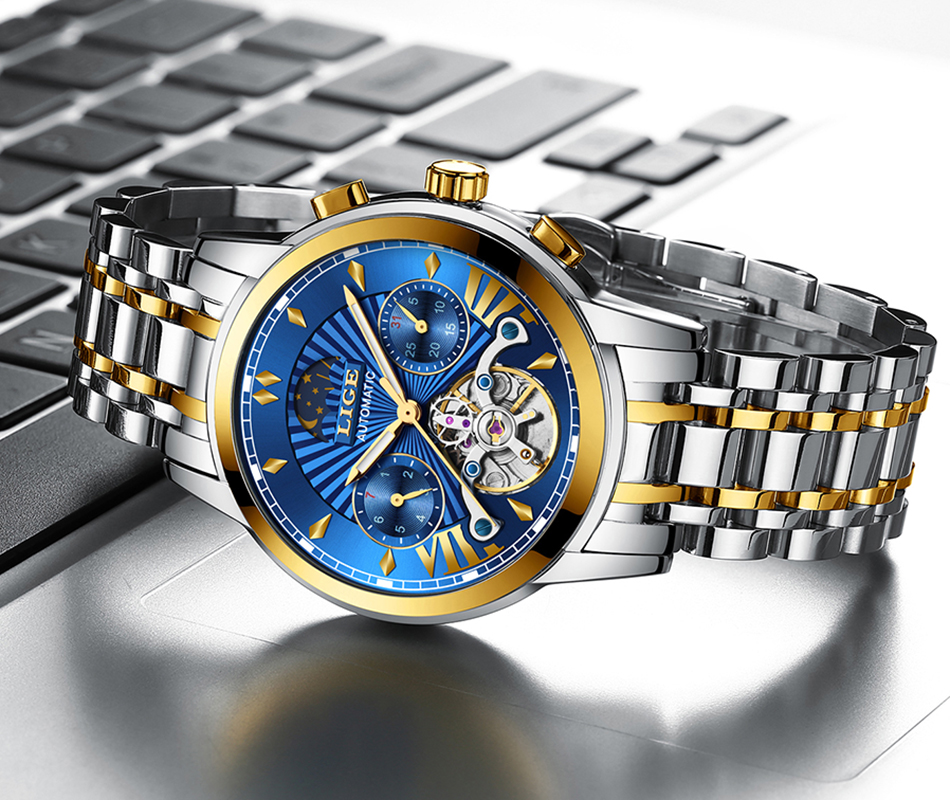 H1f1ad40fcdcf48289d6c1437becf9175Y LIGE Official Store Mens Watches Top Brand Luxury Automatic Mechanical Business Clock Gold Watch Men Reloj Mecanico de Hombres