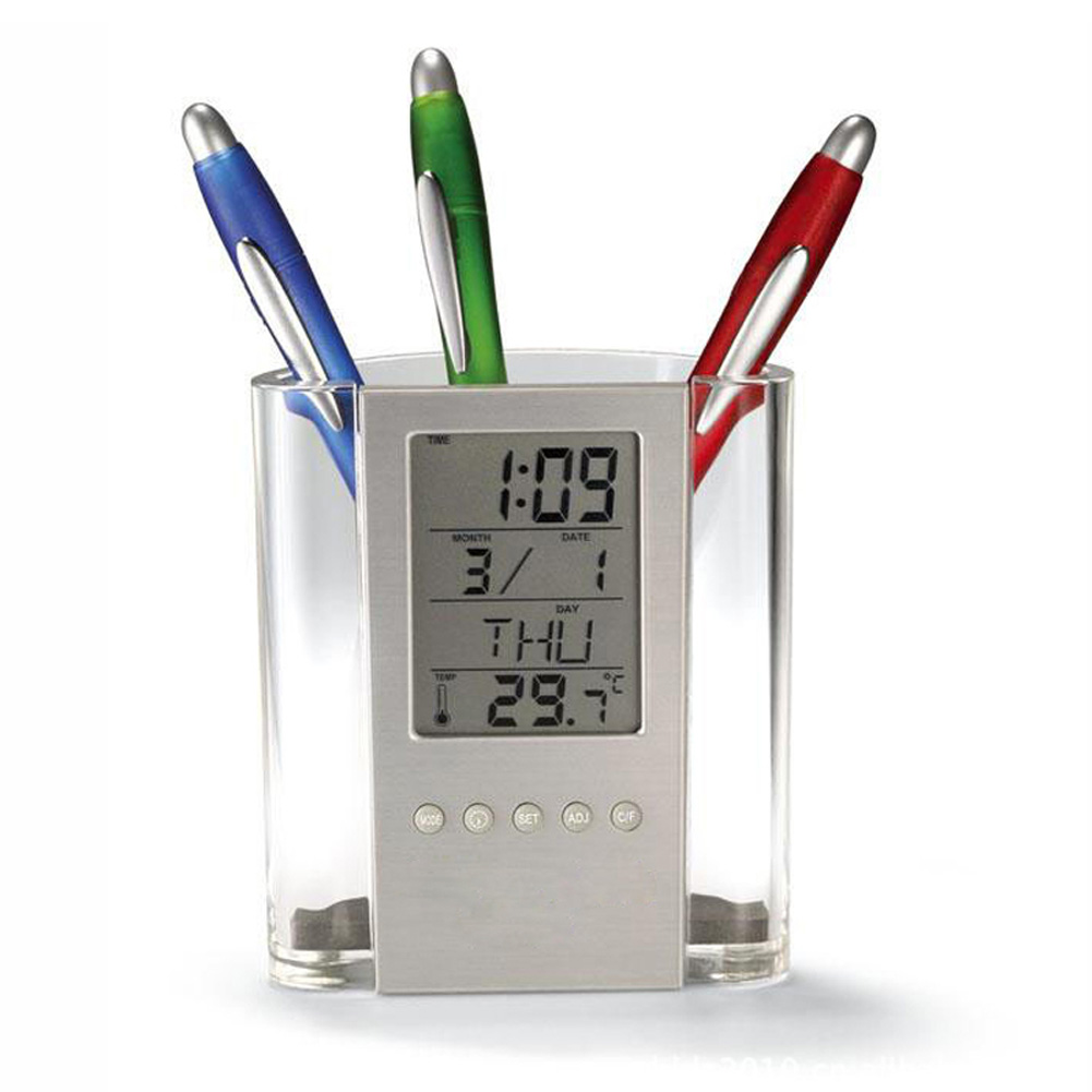 Pen Holder Clock Electronic Alarm Clock Practical LCD Screen Useful With Button Cell Pen Container Multiple Modes