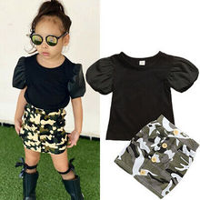 1-6Y Toddler Baby Girl Kids Clothes Set Puff Sleeve T shirts Camo Skirts Outfits Children Girls Costumes Summer