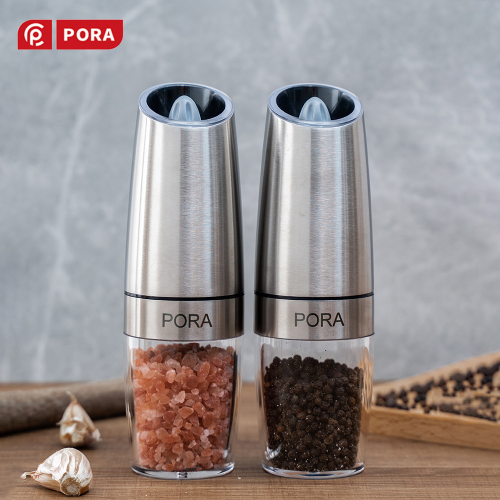 Stainless Steel Pepper Mill Electric, Salt and Pepper Grinder Set with Metal Stand, Kitchen Tools Gravity Automatic Spice Mill