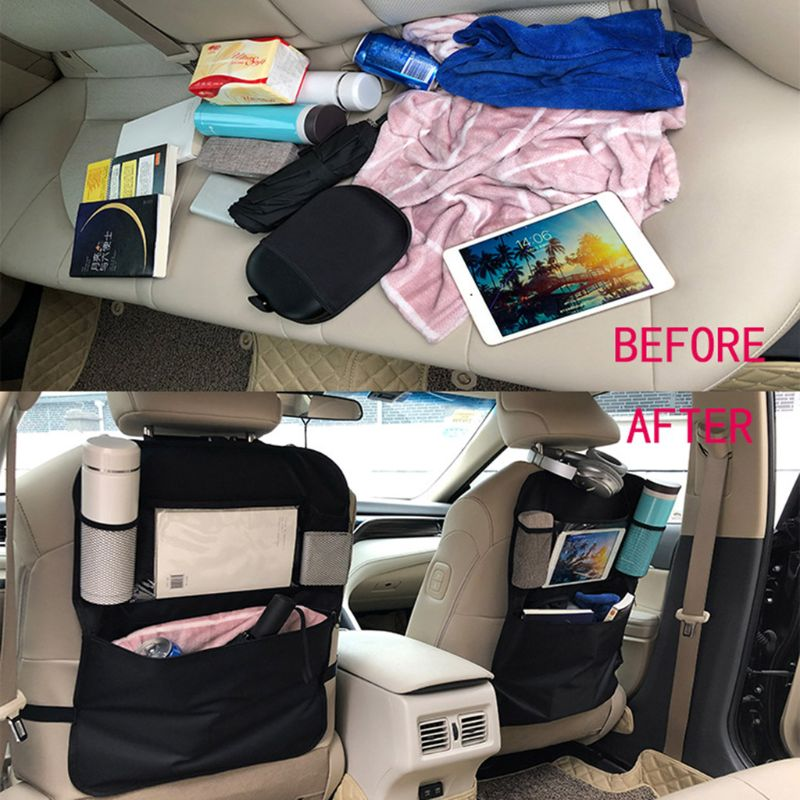 Car Storage Bag Back Seat Organizer Front Seat Storage Kids Pocket Bag Auto Travel Kick Mat 600D Oxford Cloth