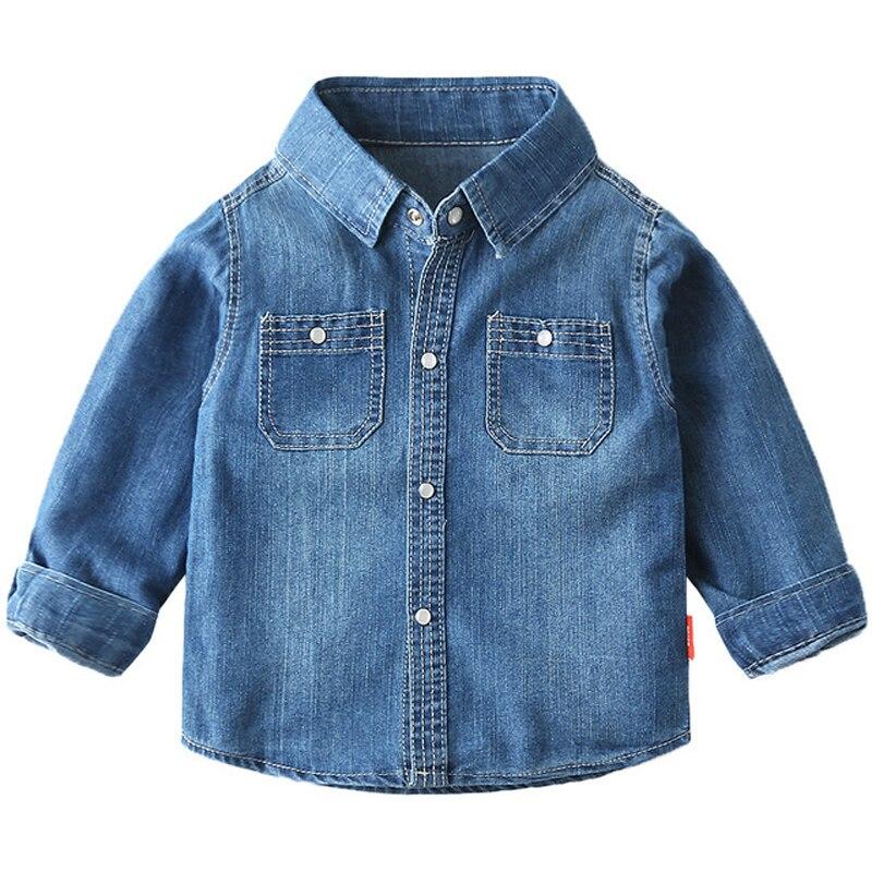 Children's Denim Shirt Long-sleeved Spring and Autumn Baby Boys Shirt Fashion Kids Shirts Clothing BC911
