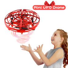 Mini Drone UFO Hand Operated RC Helicopter Quadrocopter Dron Infrared Induction Aircraft Flying Ball Toys For Kids(China)