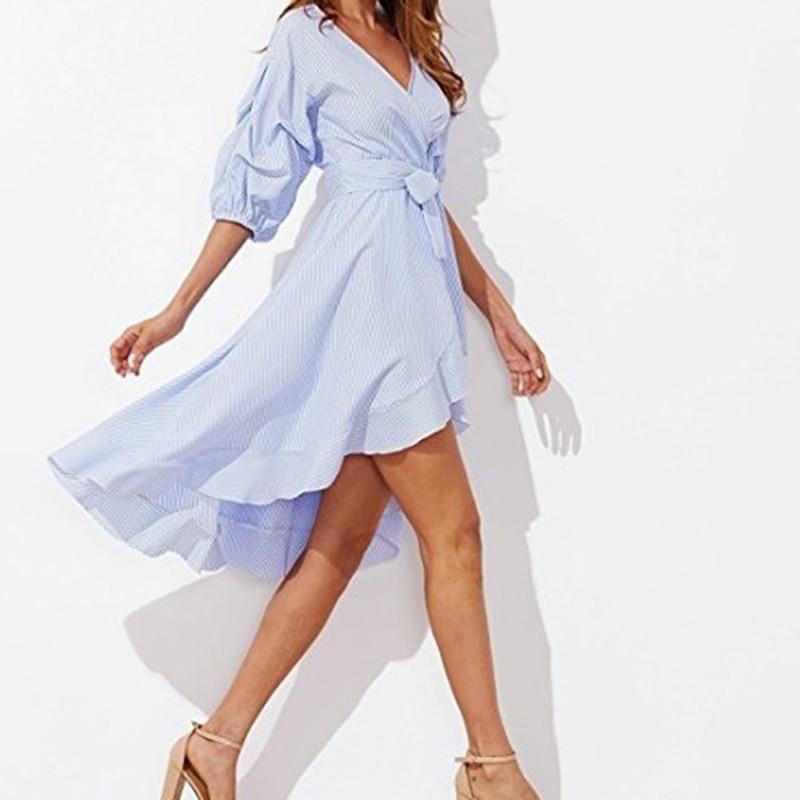 Женское платье в тонкую полоску 2020, платье с коротким рукавом и оборками, синее, розовое платье с v-образным вырезом и поясом, платье в