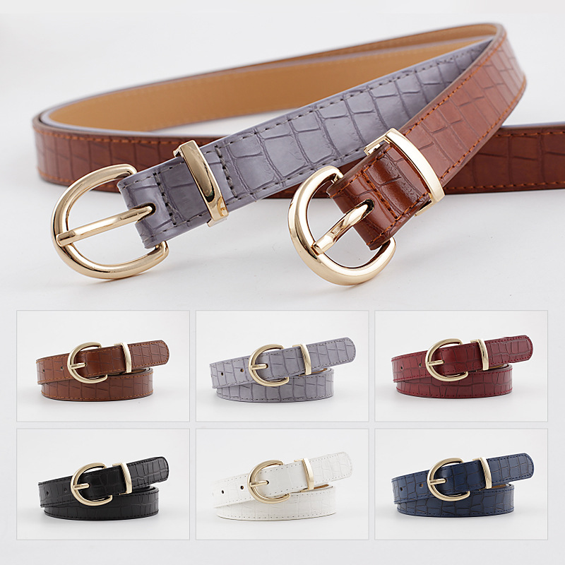 2020 New Designer Red Black Brown Leather Belt Waistband Female Gold Pin Buckle Waist Belts For Women Jeans Cinturon Mujer