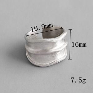 Image 4 - Silvology 925 Esterlina Anéis de Prata Irregular Ampla Matéria Indústria Artesanal Textura Estilo Anéis para As Mulheres Novo 925 Jóias de Prata