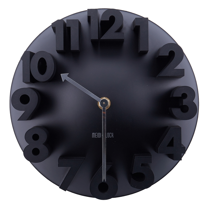 Home Decor Creative Modern Art 3D Number Dome Round Wall Clocks, Black 22.5 * 22.5 * 9cm