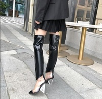PVC Woman Sliver Black White Pointed Toe Patchwork Transparent Crystal Chunky Spike Heels Zipper Thigh Over The Knee Long Boots