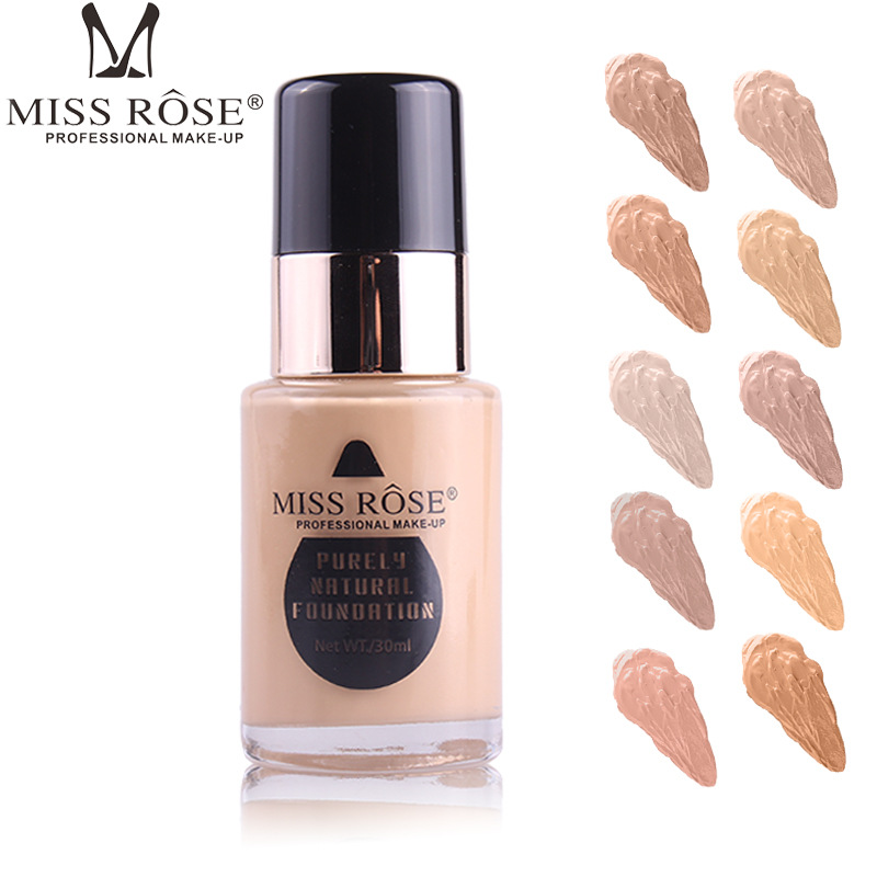MISS ROSE 30LM New 7 Colors Face Liquid Foundation Base Makeup Concealer Cream Oil-control Brighten Foundation Primer Make Up
