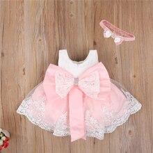 2021 neugeborenen Baby Prinzessin Mädchen Kleid Stirnband 6 Farben Ärmellose Spitze Bogen Blumen Kleid Hochzeit Party Kinder Kleidung 0-24M