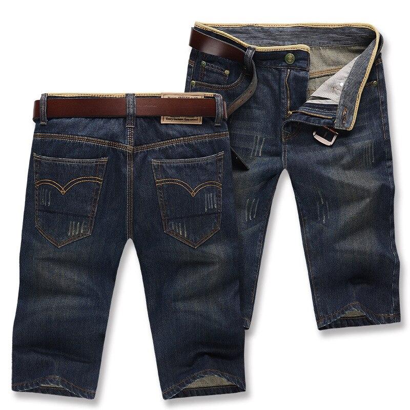 Summer Men's Cool Cat Whisker Knee-length Denim Shorts Straight Slim Retro Shorts Men's Thin