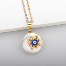 Color Cubic Zirconia Star Round Necklace Blue Evil Eye Stainless Steel Chain Necklaces For Women Men Fashion Jewelry Wholesale(China)