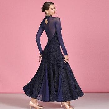 ballroom dance dresses for ballroom dancing viennese waltz dress rumba back perspective splicing long sleeve dress for dancing 3