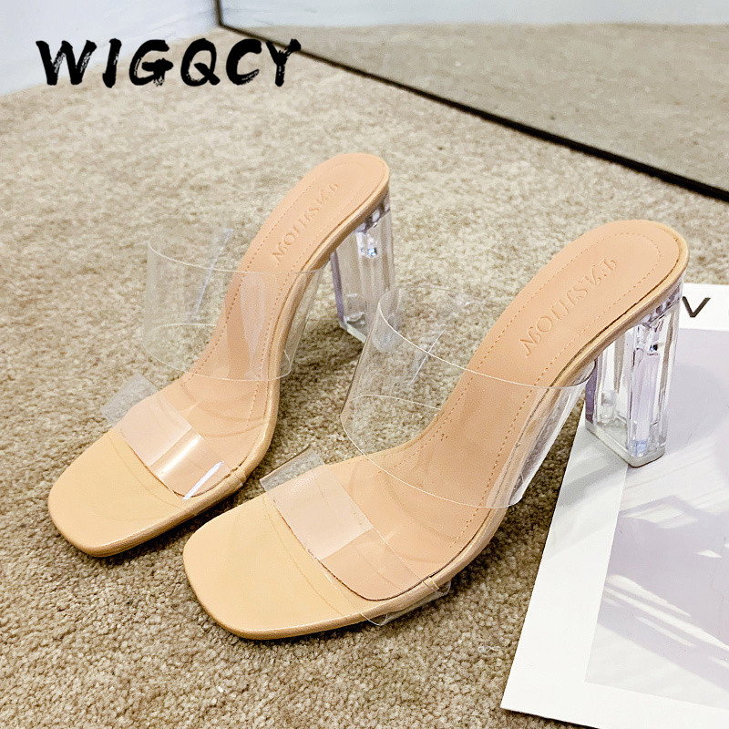 Transparent High Heels Women Square Toe Sandals Summer Shoes Woman Clear High Pumps Wedding Jelly Buty Damskie Heels Slippers