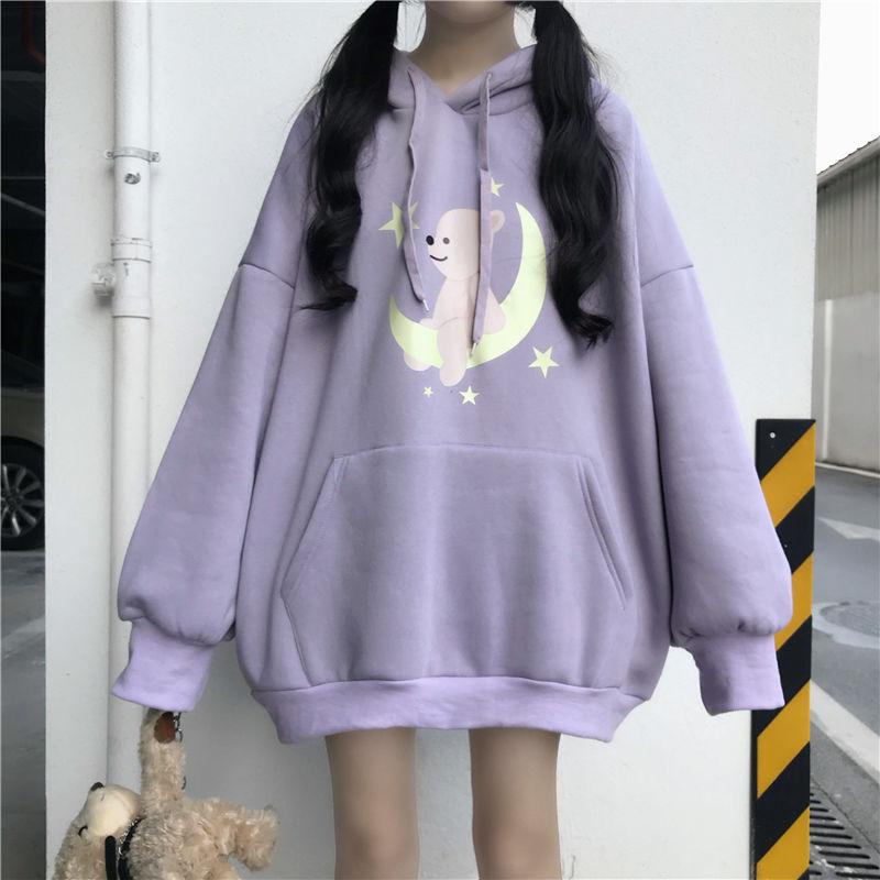 Japanese Kawaii Cartoon Printed Hoodie Schoolgirl Autumn And Winter Clothing Korean Sweet Style Loose Long Hoodies Wome