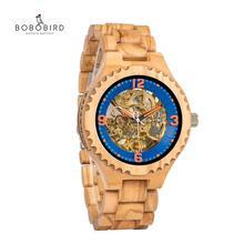 Relogio Masculino בובו ציפור עץ שעון גברים יוקרה מותג אוטומטי שעוני יד השושבינים הווה reloj hombre OEM Dropshipping