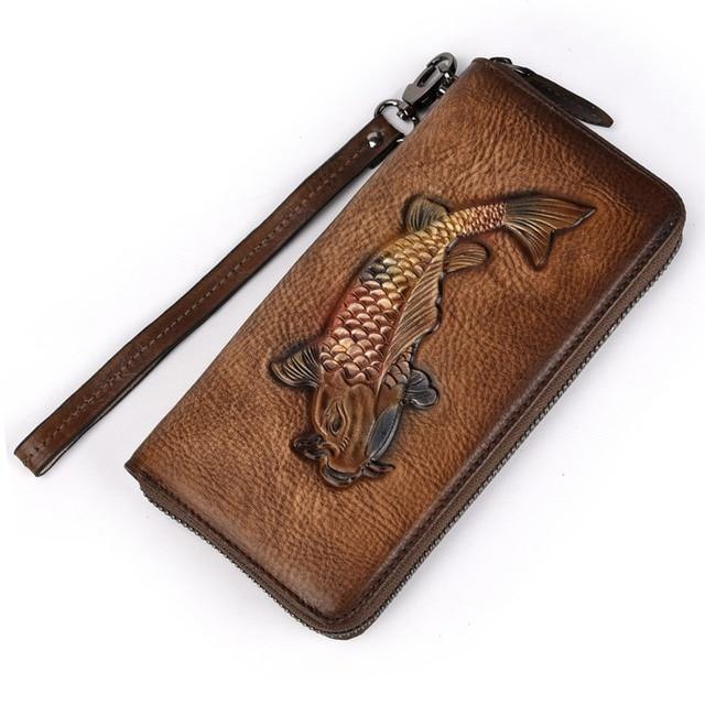 Мужские винтажные кошельки из кожи с золотой рыбкой