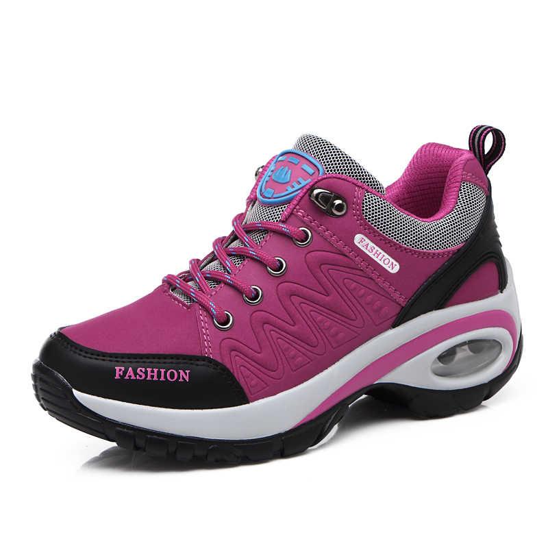 2019 nueva zapatilla deportiva para mujer gran oferta senior suede air cushion aumenta los zapatos de moda cómodos con cordones calzado informal ligero