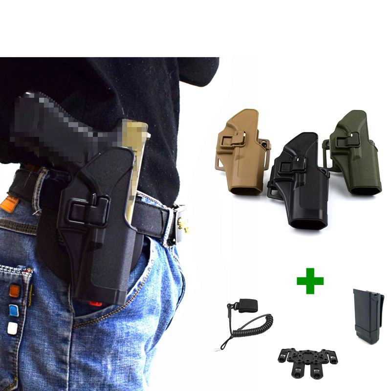 Tactical Glock 17 19 22 23 31 32 Airsoft Pistol Belt Waist Gun Holster Gear Gun Carry Case + Molle Platform Holster Adapter