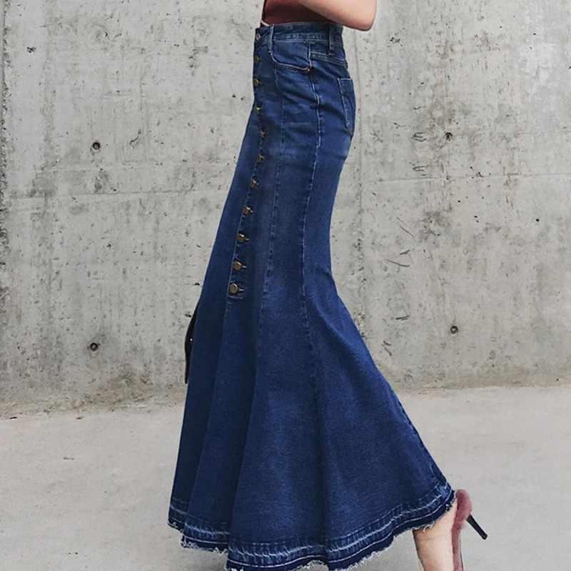 新ファッション女性のセクシーなマーメイドデニム足首の長さのロングハイウエストボタンジーンズスカートカジュアルスリムフリルスカート