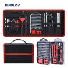 Kindlov conjunto de chave de fenda phillips, magnético, bits de precisão, chave de fenda, kit de ferramentas manuais de reparo 135 em 1 para celular telefone móvel
