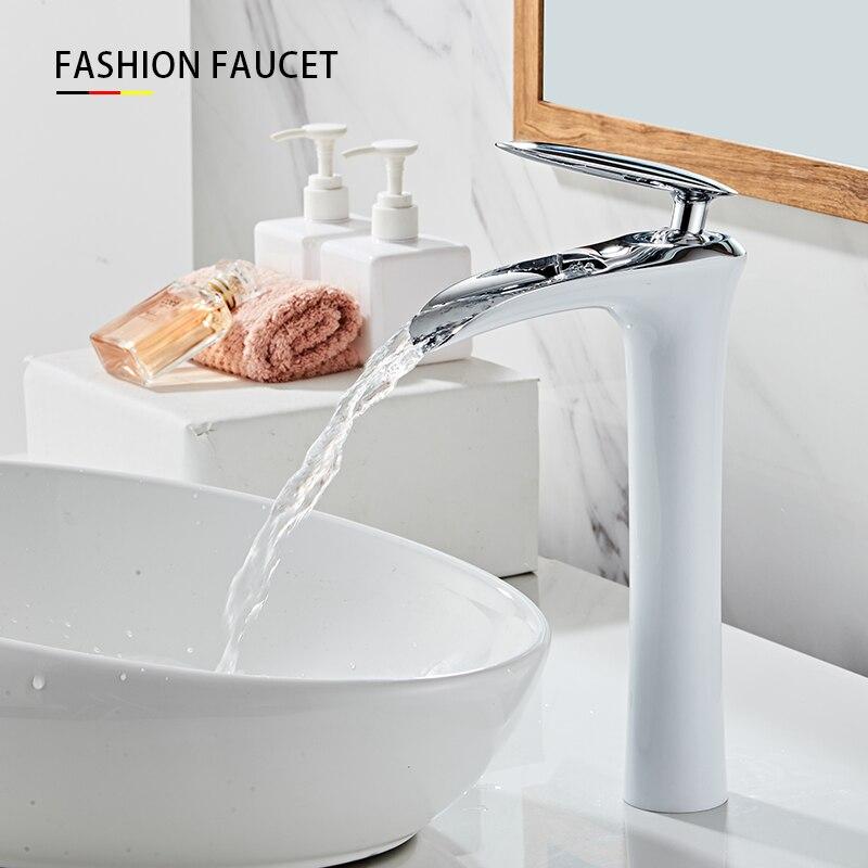\Hot DealsWaterfall-Faucet Gold-Lavatory Bathroom Brass-Sink-Mixer Cold-Crane Single-Handle HotÉ