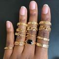 Lost оптовая продажа; В стиле «хип-хоп» Стиль золото Цвет металлические кольца комплект ювелирных изделий для женщин в стиле Панк Сплав Макси ...