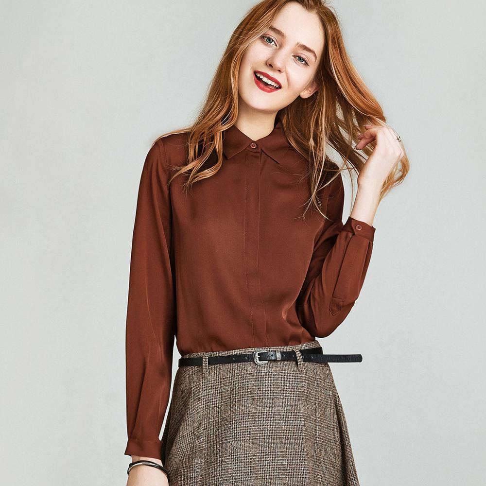 HAVVA printemps automne femmes couleur Pure Windsor col manches longues chemise pour simple boutonnage 100% Polyester Blouse C4251