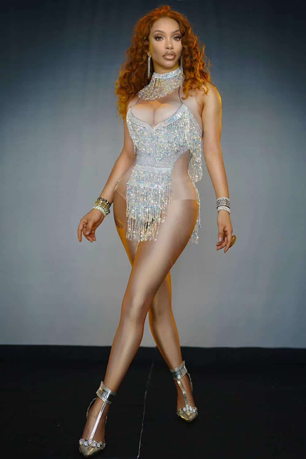 2020 Sparkly Sequins Fringes Bodysuit Bar Women Singer Sexy Leotard Tassel Costume Celebrate Outfit Evening Dance Stage Outfit