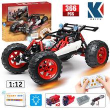 Kaiyu led cidade técnica rc carro moc blocos de construção app controle remoto programação fora de estrada veículo tijolos presentes brinquedos para meninos