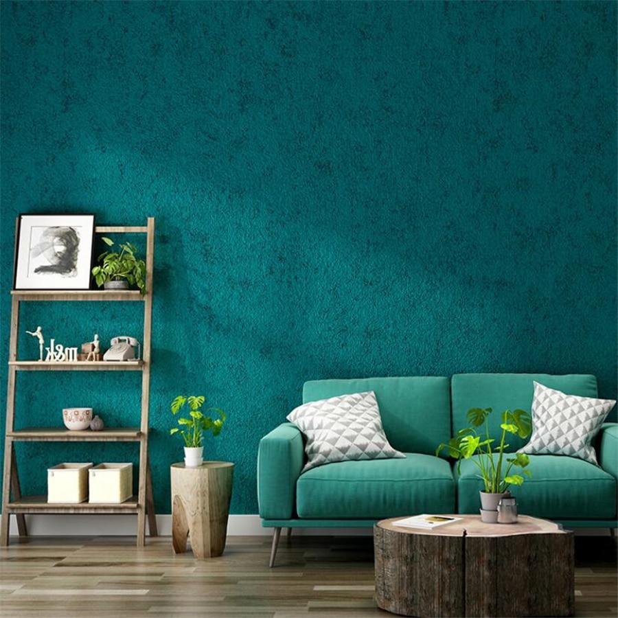 Nordic style peacock blue green wallpaper plain diatom mud light luxury bedroom restaurant living room wall paper papier peint