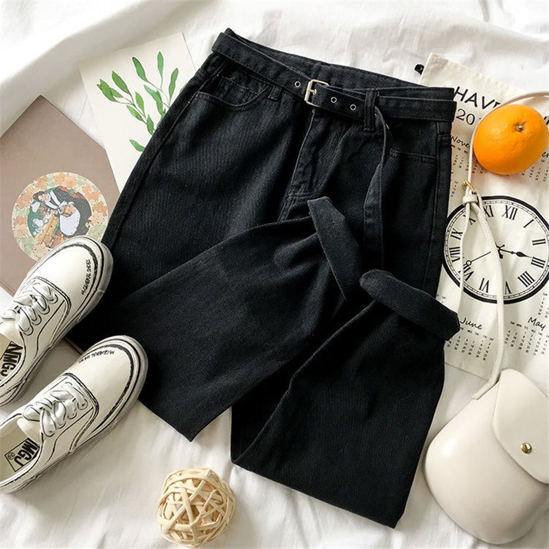 High Waist Mother Jeans Spring New Large Size High Waist Cropped Women's Jeans Loose Thin Harem Jeans Women's Overalls