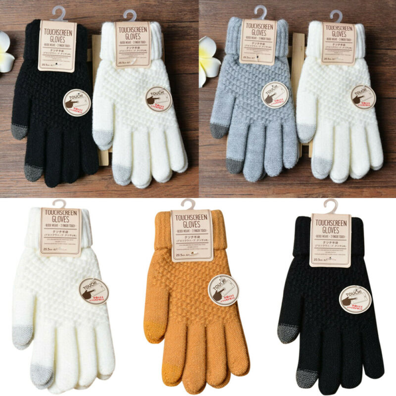Men Women Winter Warm Touch Screen Gloves Soft Knitted Full Finger Gloves