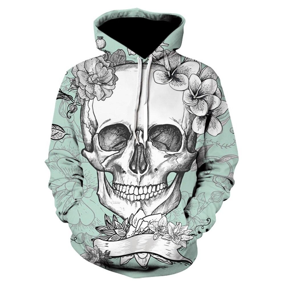 Cloudstyle 2019 New Skull Hoodies Men Women 3D Tattoo Skull Vector Print Pullover Light Blue Sweatshirts Unisex Tracksuit Hooded