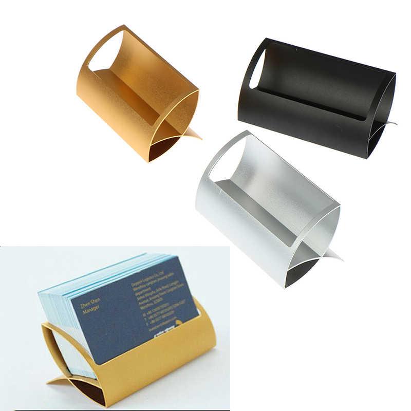 1 قطعة حاملي بطاقة معدنية الإبداعية ملاحظة أصحاب ل مكتب عرض مكتب حاملي بطاقة الأعمال مكتب الملحقات حامل كليب