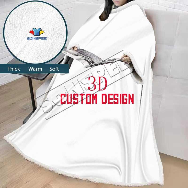 SONSPEE 3D stampa personalizzata di disegno di Inverno All'aperto Con Cappuccio Coperte Con Maniche Caldo Morbido Accappatoio Felpa Pullover TV Coperta