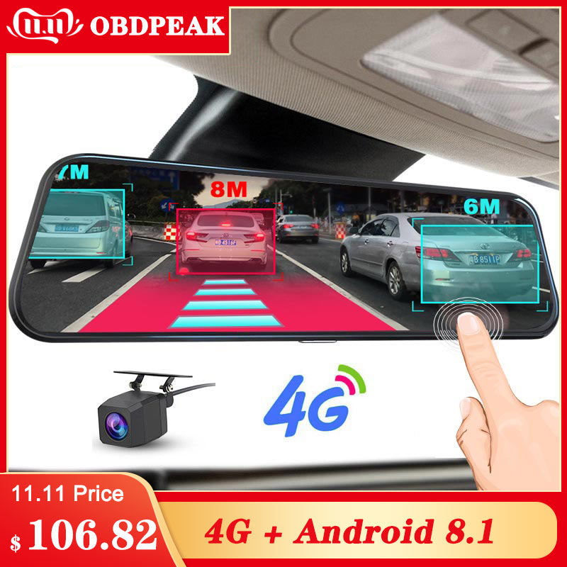 "A980 4G Android 8.1 ADAS 10"" Stream Rear View Mirror Dash Cam Camera Car Camera Recorder Dvr Dashcam GPS Navigation 1080P WIFI-in Car Mirror Video from Automobiles & Motorcycles"