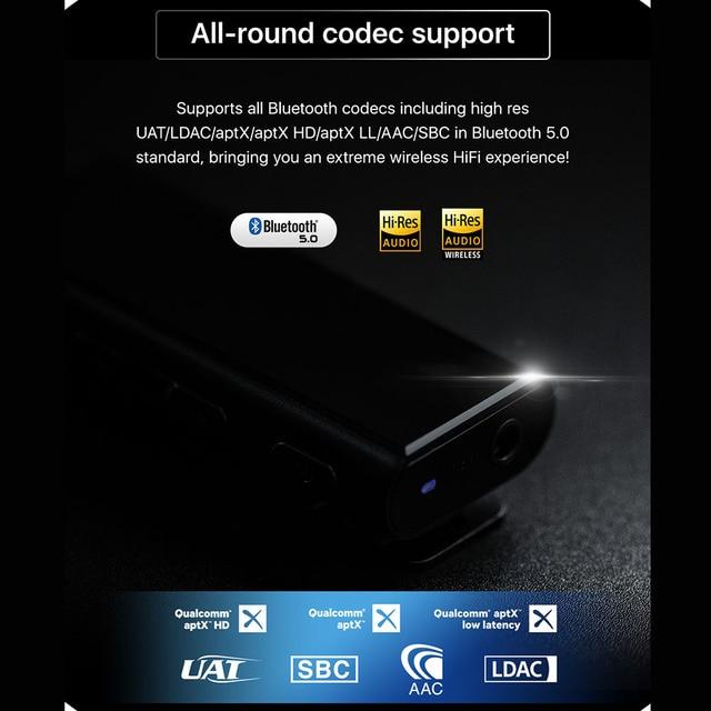 HiBy W3 USB DAC 3.5mm Portable Wireless Bluetooth Headphone Amplifier receiver AK4377 UAT APTX HD LDAC Noise Reduction 6