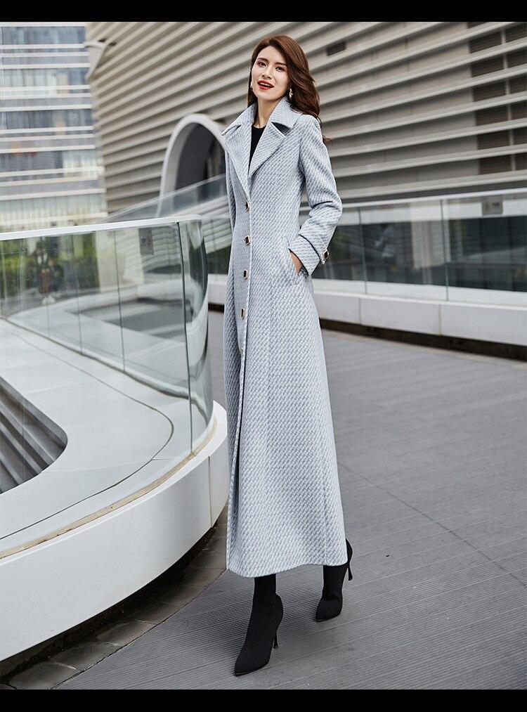 mulheres 2019 azul claro longo casaco feminino