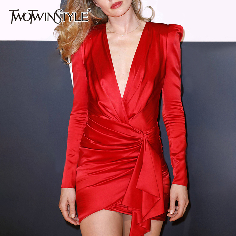 TWOTWINSTYLE Sexy Asymmetrical Dresses For Women V Neck Puff Long Sleeve High Waist Ruched Irregular Hem Mini Dress Female Tide