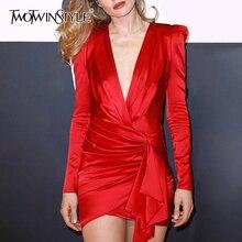 Twotwinstyleセクシーな非対称ドレスvネックパフスリーブハイウエストシャーリング不規則な裾ミニドレスの女性の潮
