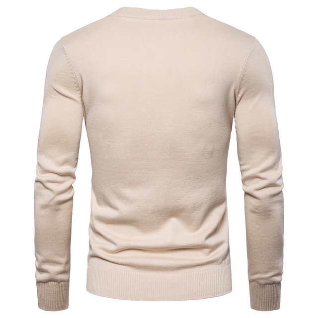 2019 Autumn Winter Brand Quality 100% Cotton Mens Sweaters V Neck Pullovers Men Solid Embroidery Sweater Men 1