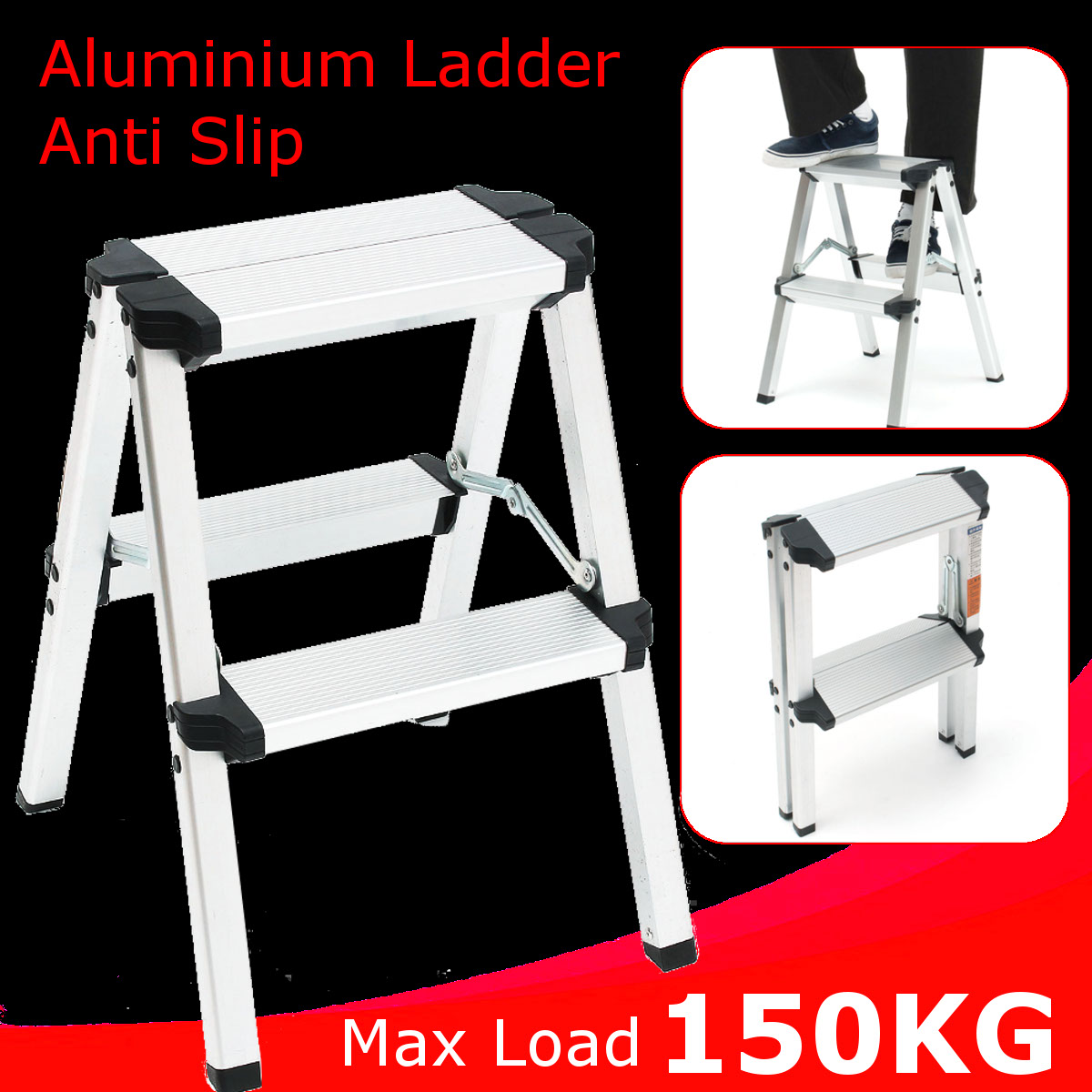 50cm Anti Slip Ladder Safety Step Folding Ladder 2 Step Stools Aluminium Multifunctional Ladder Thick Pedal Construction Tool