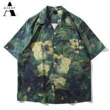 Camisas de grafite para homens, harajuku, streetwear, manga curta, verão, casual, praia, roupas havaianas, moda feminina