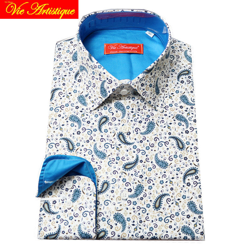 Custom Tailor Made Women Men's Bespoke Cotton Floral Shirts Business Formal Wedding Ware Blouse White Print Blue Paisley Flower