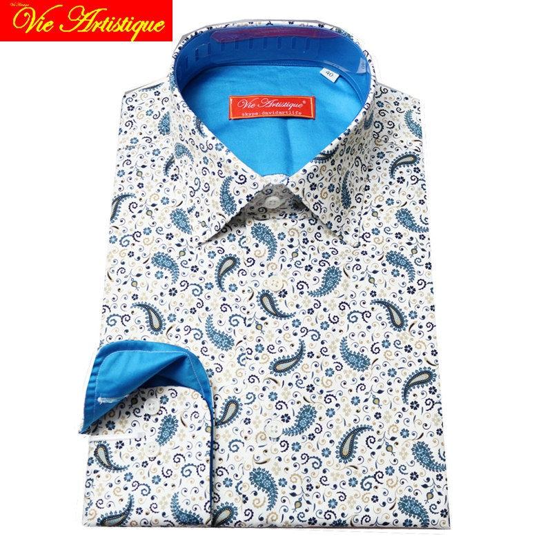 Custom Tailor Made Women Men's Bespoke Cotton Floral Shirts Business Formal Wedding Ware Blouse White Print Blue Paisley Flower
