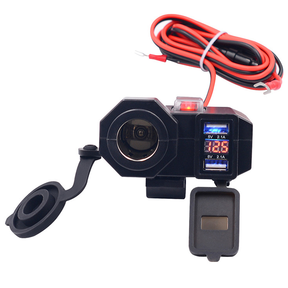 Motorcycle Usb Charger Phone 12v/24v Cigar Lighter Socket Dual Usb Moto Charger Led Voltmeter Waterproof Car-Styling
