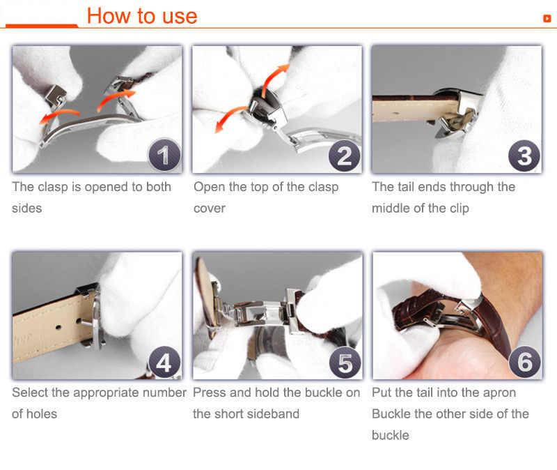 革ストラップ 18-24 ミリメートルユニバーサル腕時計蝶ローズゴールドステンレス鋼バックルストラップストラップ 22 ミリメートル調整可能な交換ストラップ