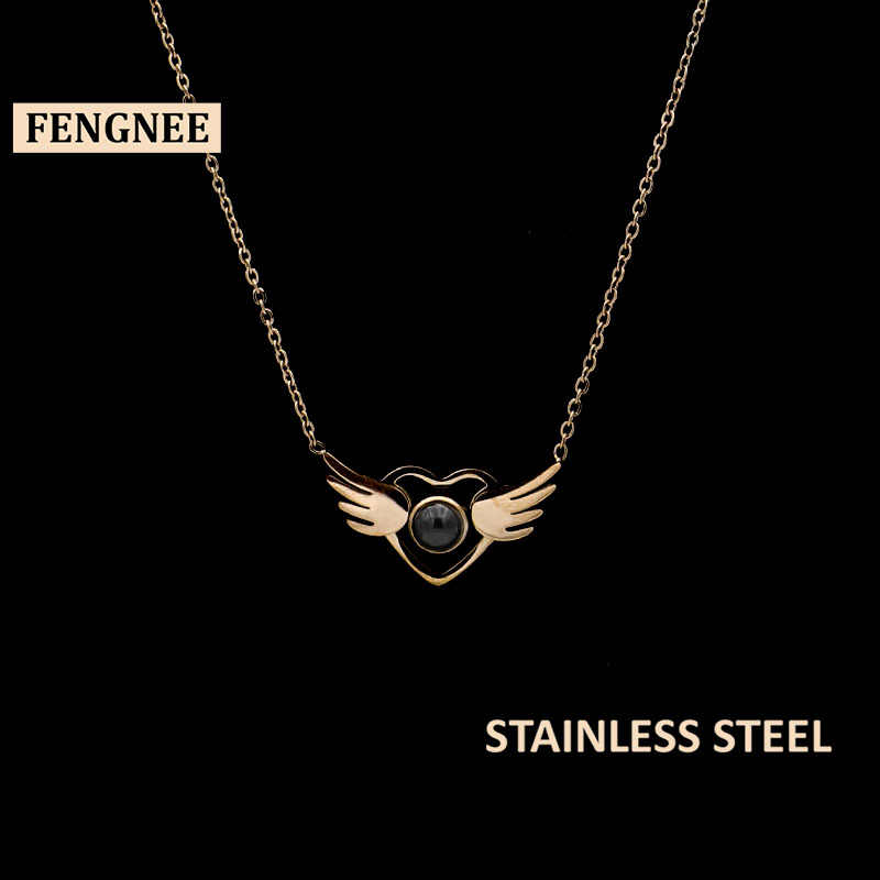 fengnee Rose Gold 100 languages I love you Projection Pendant Necklace Romantic Love Memory Wedding angel wings Necklace
